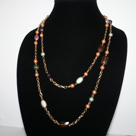 """Beautiful vintage gold peach pearl necklace 48"""""""